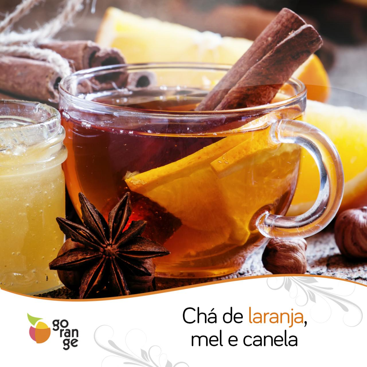 Chá de laranja, mel e canela